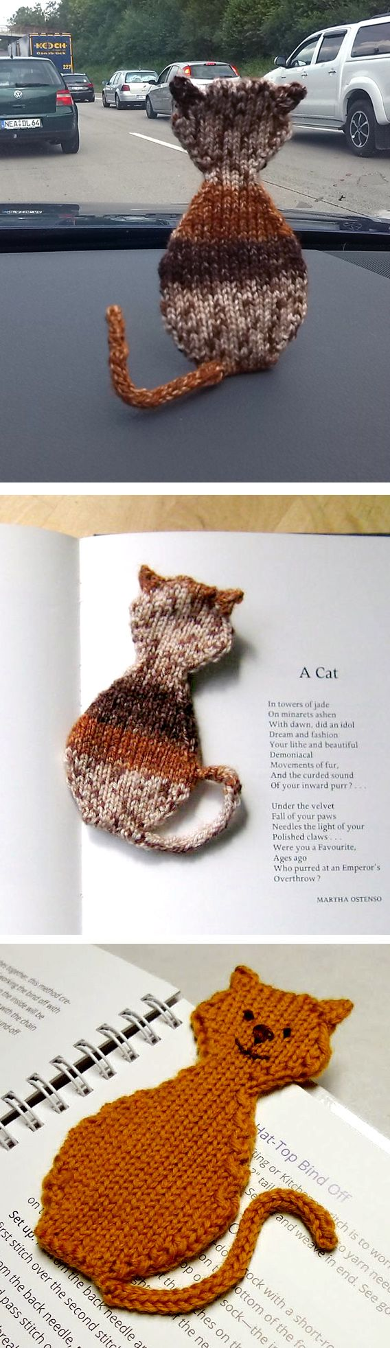 """Free Knitting Pattern for Cat Bookmark - Knit in one piece with the ears picked up and the tail in i-cord. Approximately 7"""" / 18 cm long. Designed by Stana D.Sortor. Pictured projects by seymorandPatty7737"""
