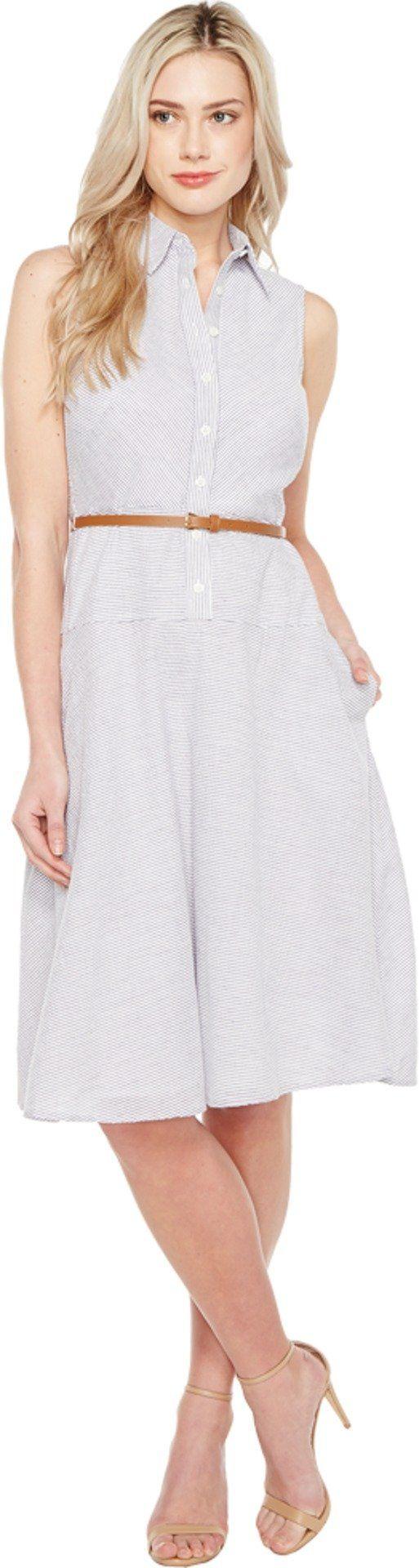 Donna Morgan Women's Drop Waist Shirt Dress, Oxford Blue/White, 14