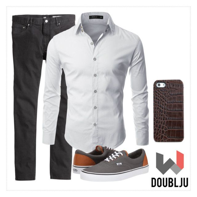 """""""Mens Long Sleeve Gold Button Dress Shirts"""" by doublju-company ❤ liked on Polyvore featuring Doublju, Vans and Graphic Image"""
