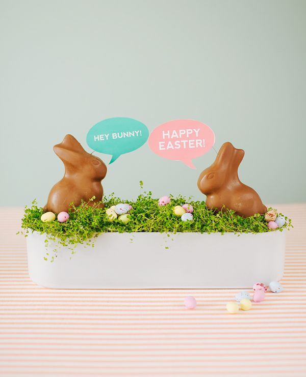DIY Conversation Bunnies | Oh Happy Day! #easter #bunny #holiday