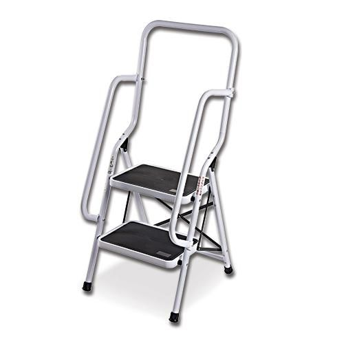 Two Step Ladder With Safety Support Rails Front And Side