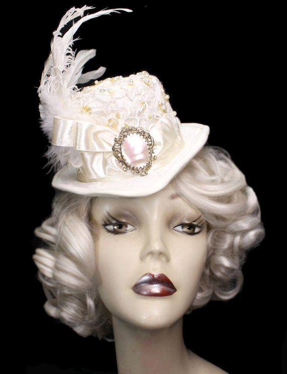 e1b0eccdd684f Ivory Mother Of Pearl Mini Wedding Riding Top Hat Fascinator Victorian  Steampunk Bride