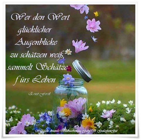 Wer den Wert glücklicher Augenblicke zu schätzen weiß, sammelt Schätze fürs Leben. - Ernst Ferstl - ~ Quelle: GedankenGut https://www.facebook.com/GedankenGut-520626954705715/ http://www.dreamies.de/mygalerie.php?g=jtdysguz