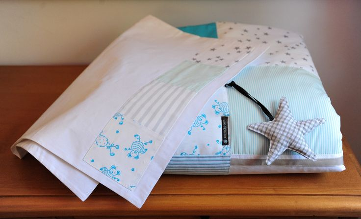 parure de lit bébé grande couette et taie d'oreiller en coton et ouate : Puériculture par com3pom