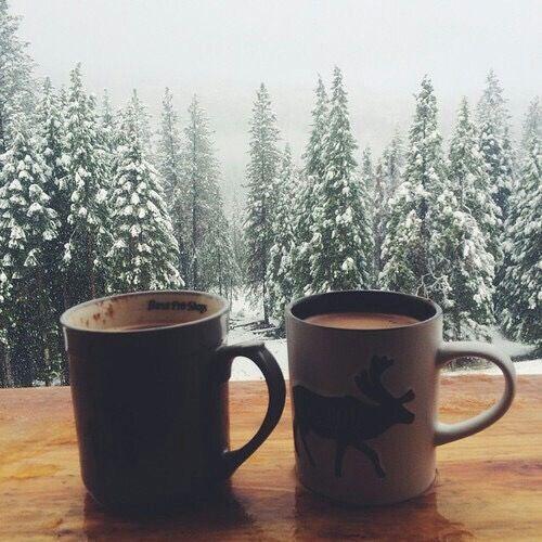 Snow outside & Coffee inside