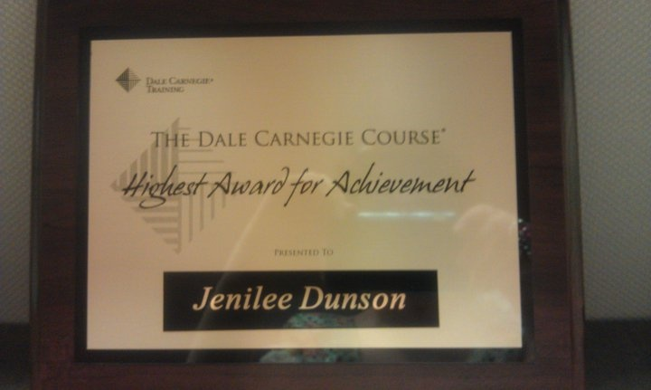 My Highest Award For Achievement From Dale Carnegie