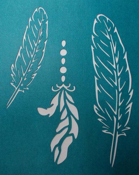 Feathers x 3 Stencil by kraftkutz on Etsy