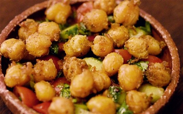 Fried chickpeas and salad