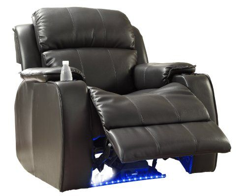 Homelegance 9745BLK 1 Jimmy Collection Upholstered Power Reclining Massage Ch