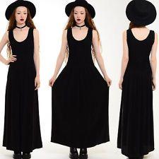 Vtg 80s 90s Faded Black MINIMALIST Goth Gypsy DRAPED Grunge Witch Maxi Dress S M