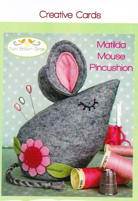 Matilda Mouse pincushion pattern designed by Two Brown Birds