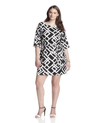 51% OFF Leota Women's Plus Nouveau Sheath Dress (Black/White)