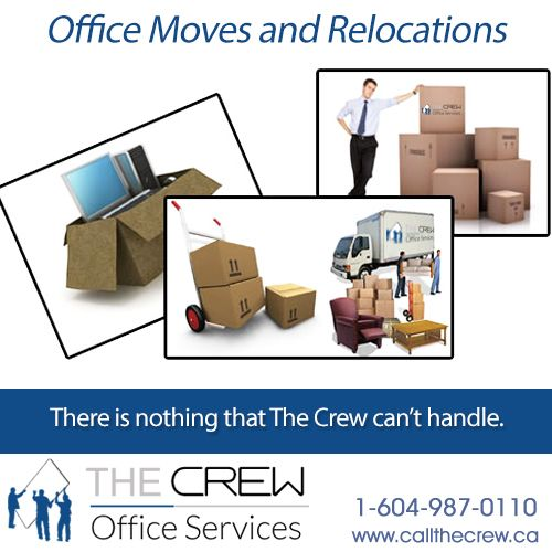 The Crew will protect your office assets ensuring that your valuable equipment is protected and transported safely.    for more details 1-604-987-0110.