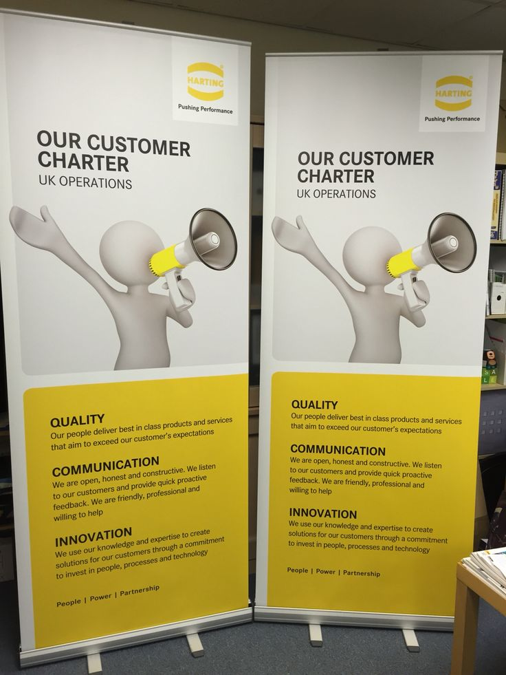 2 printed roller banners for the launch of a customer campaign for HARTING UK