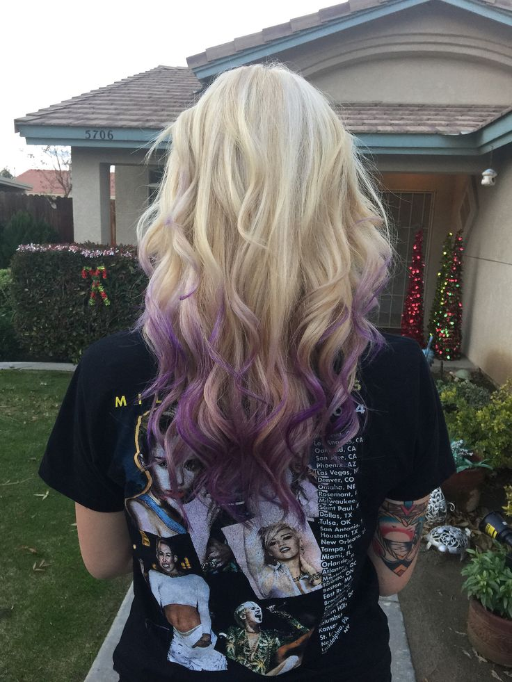 Blonde With Purple Tips Hair Clothes And Nails Hair