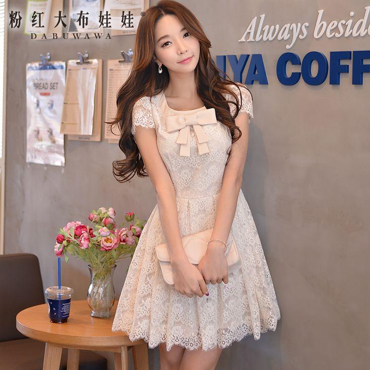 Aliexpress.com: Compre Marca vestido de mangas curtas verão 2015 vestido novo slim Lace Bow vestido de confiança vestidos anthropologie fornecedores em DABUWAWA & PINK DOLL Trade Co.,Ltd