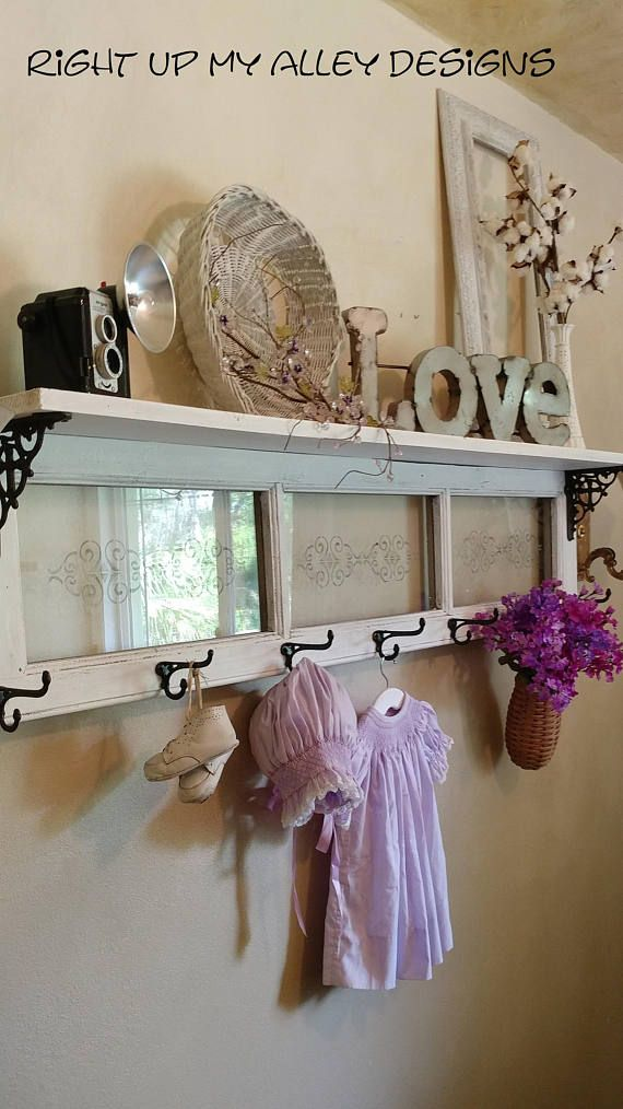 Repurposed Window Made Into A Decorative Shelf With 7 Antique