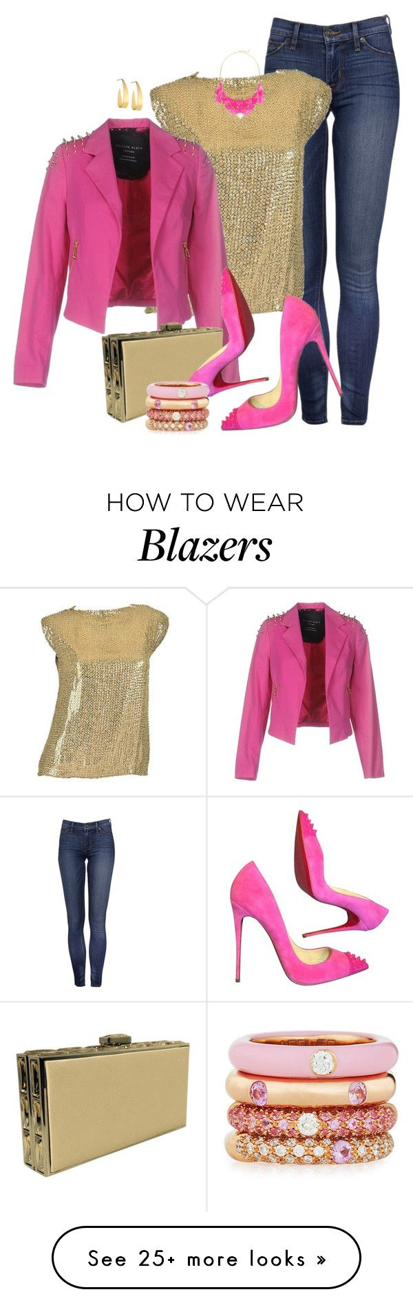 """PINK STUD by ShaunSlay"" by shaunslay on Polyvore featuring Pierre Balmain, Philipp Plein, Judith Leiber, Christian Louboutin, Adolfo Courrier, George J. Love and Lana"