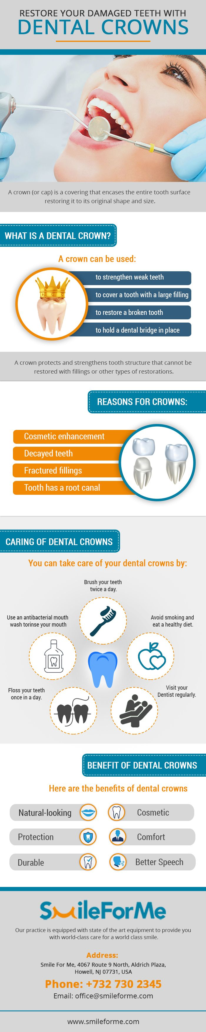 A dental crown is a tooth-shaped 'cap' that is placed over a tooth to cover to restore its shape, size, strength as well as improve appearance. There are different types of dental crowns; however, porcelain is the popular choice as it resembles the natural look. To refurbish your teeth with this treatment, choose the professionals of Smile for Me. We will help you to get the desired look. For further query, feel free to contact us.