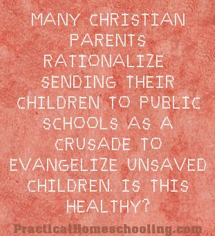 Homeschool World - Articles - No More Children's Crusades - The case against sending your child to public school to be the salt and ligjt