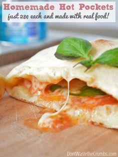 Recipe: Healthy Homemade Hot Pockets - recipe for making homemade hot pockets for just 28¢ each. No fake ingredients, just real food! :: Don'tWastetheCrumbs.com