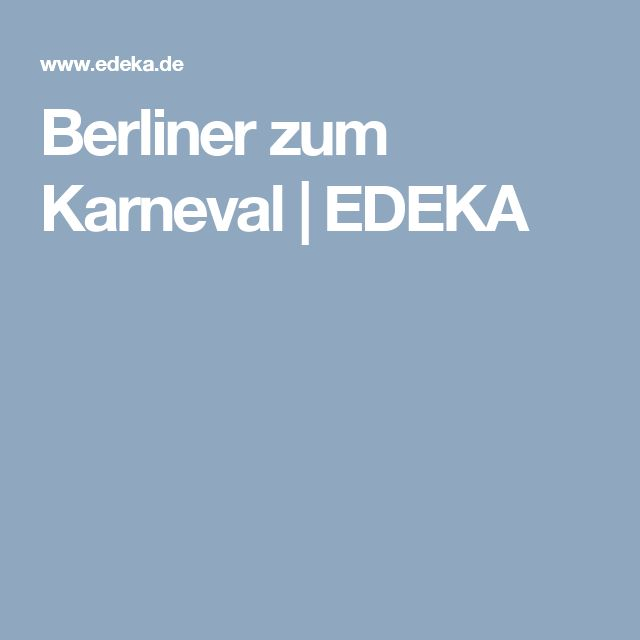 Berliner zum Karneval | EDEKA