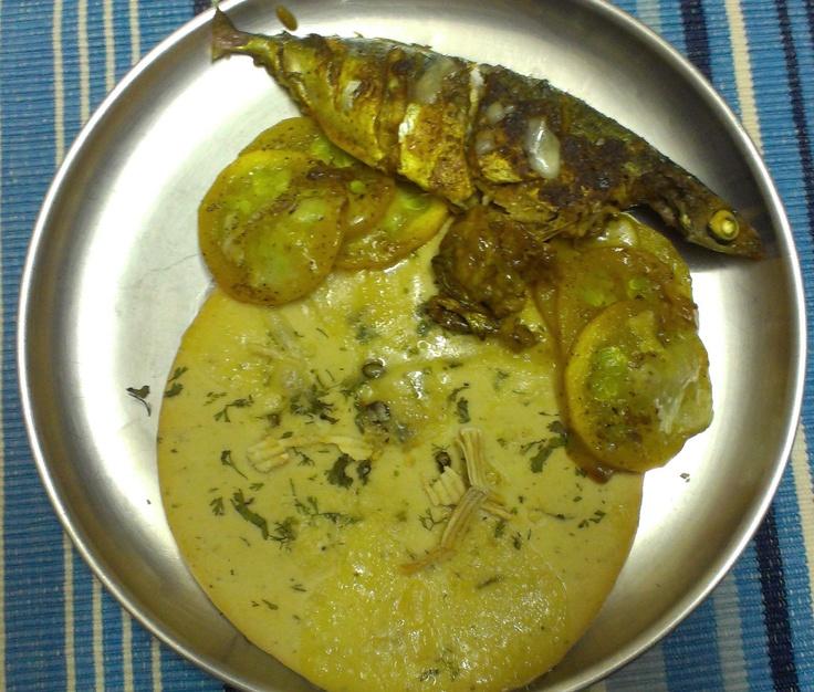 Pan-fried Mackerel with Kulcha bread.