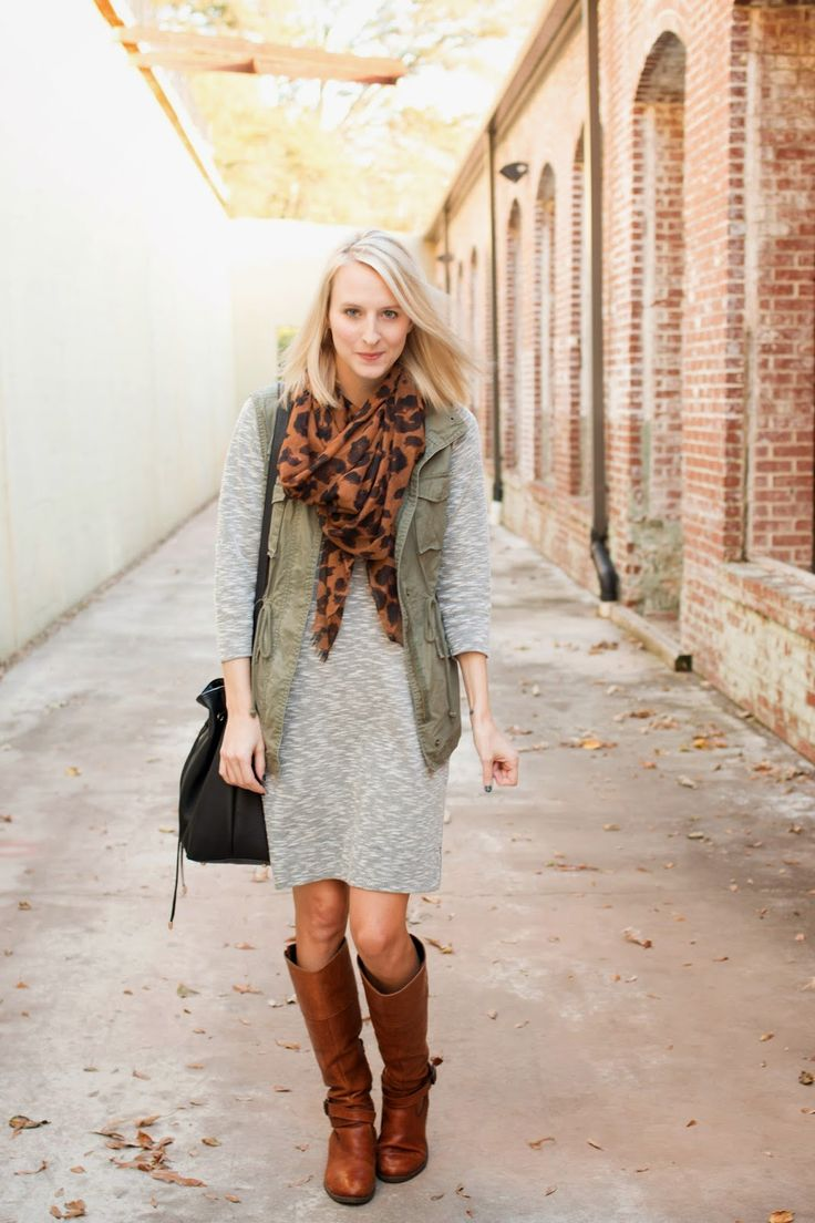 Gray dress, olive vest, leopard scarf, brown boots.