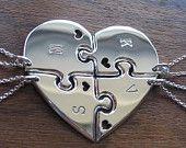 Four Piece Heart Best Friend Pendant Necklaces by GorjessJewellery