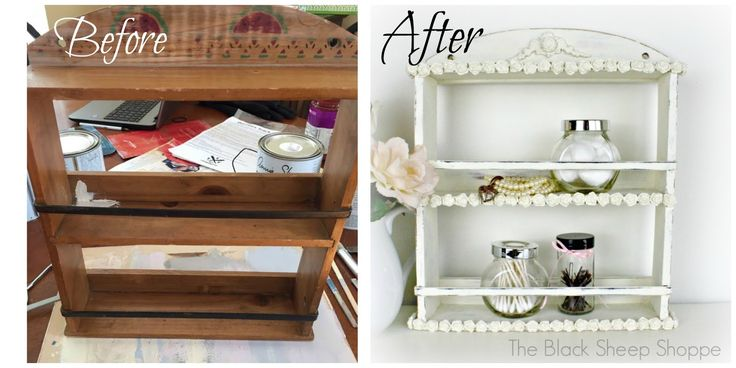 Transformed from country style to shabby chic with paper clay, silicone molds, and paint.
