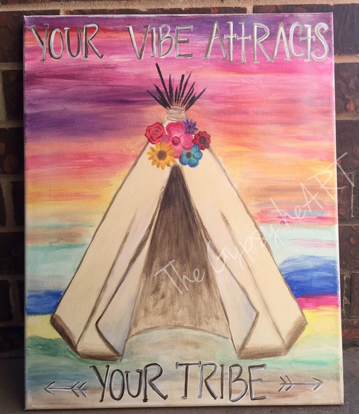 """""""Your Vibe Attracts Your Tribe"""" Teepee with sunset canvas painting. I love this saying I believe this is absolutely true, put out there what you would want in return in friendships and relationships. Keep good morals and values, stay positive, always be kind✌️ Be kind and compassionate to one another, forgiving each other, just as in Christ God forgave you. Ephesians 4:32 #yourvibeattractsyourtribe #thegypsyheart #godisgood #teepee #southwest #sunset #nativeamerican #tribe #canvasart #p"""