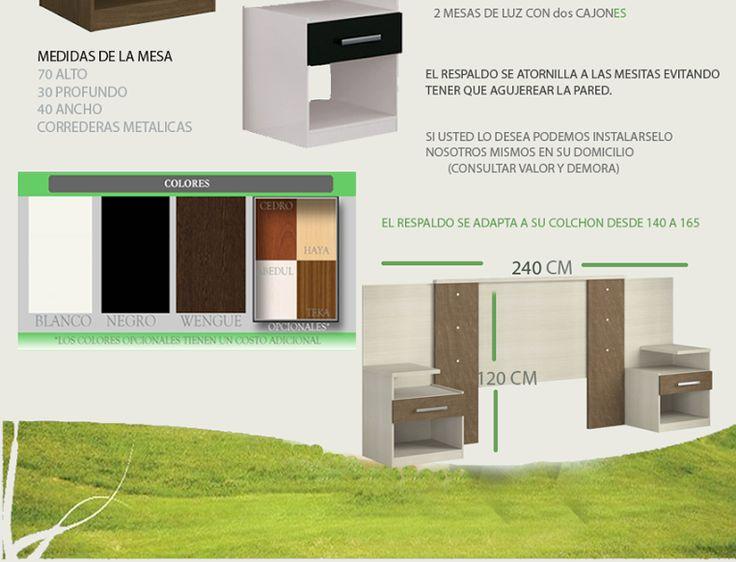 Respaldo De Somier 2 Plazas Y 2 1/2 Mesas De Luz Dos Cajones - $ 1.949,99 en MercadoLibre