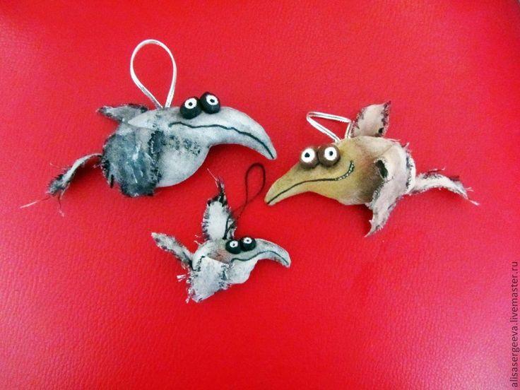 Купить Вороны каркушки - ворона, вороны, птицы, Каркуша, каркушка, хлопок, синтепон, акриловые краски