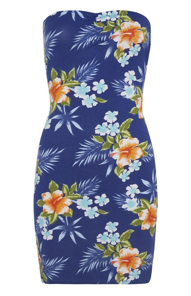 Primark - Blauwe strapless jurk met tropische print