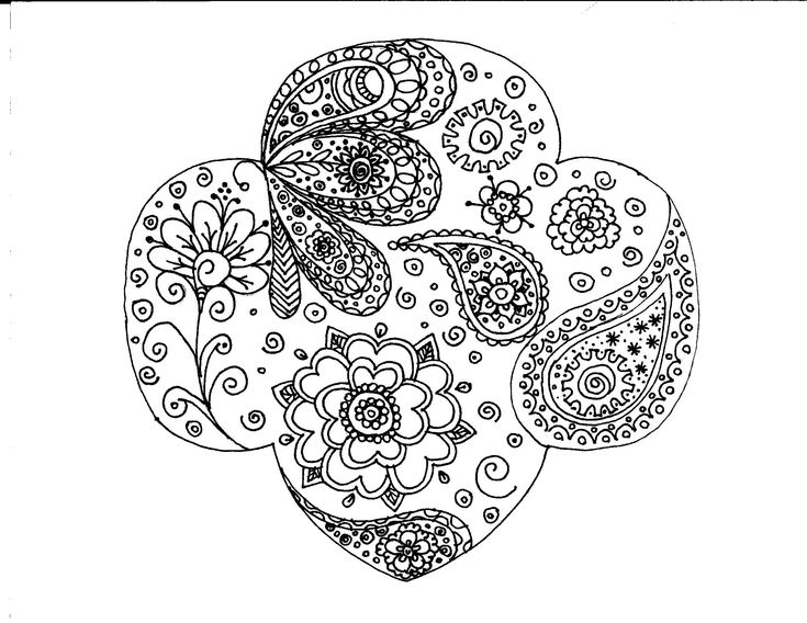 Girl Scout trefoil paisley coloring page - I wanted to have a troop tshirt made, but couldn't find one i really liked. So I thought I would try to draw one... then realized it was way too detailed for a shirt. So..... coloring page! Some areas are more dense in detail because I was playing around with ideas, but maybe other troops can find this useful. Still working on a tshirt design!