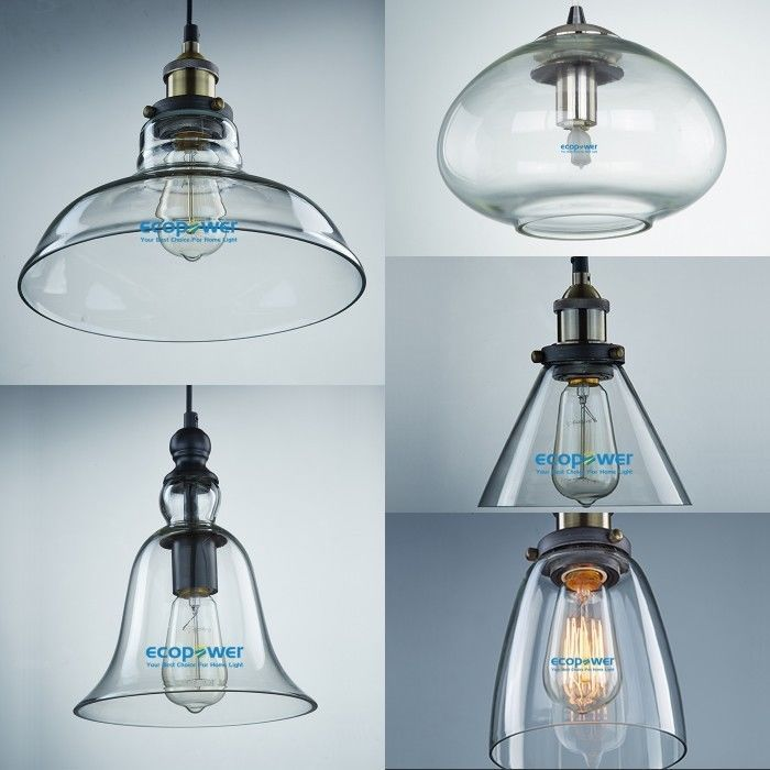 Retro Industrial Clear Glass Lampshade Cafe Pub Diner Ceiling Pendant Light Gray