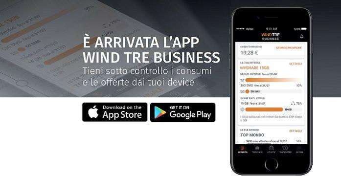 E' arrivata l'App Wind Tre Business. Tieni sotto controllo i consumi e le offerte dai tuoi device.   #WindTreBusiness  #Tariffe #Telefonia #Offerte #Smartphone #SMS #Internet #Promozioni #business #aziende #pmi #ipad #apple #iphone #samsung #huawey #app