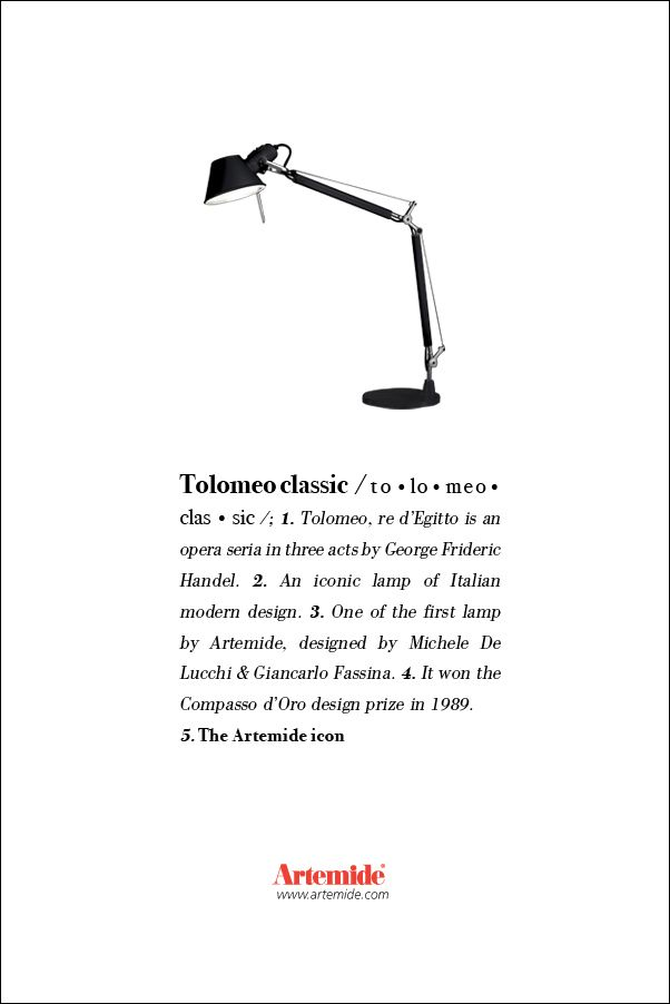 The great #Tolomeo, #design Michele De Lucchi & Giancarlo Fassina. #ArtemideDictionary.