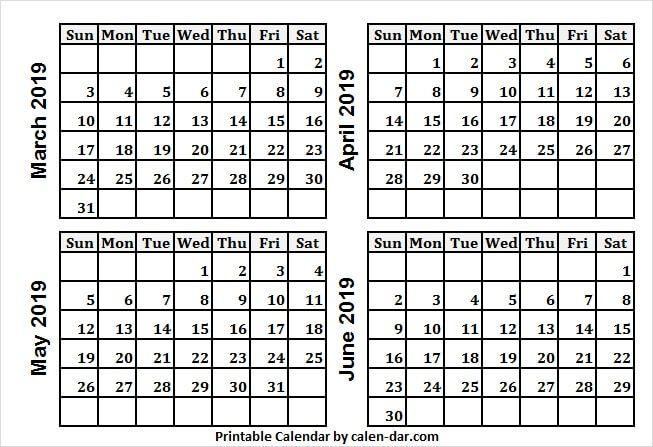 Mar Apr May And Jun 2019 Calendar Fillable Calendar Template