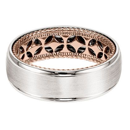 Mens Wedding Band With Diamond Pattern And Rope Edge Inside Dome Profile Round