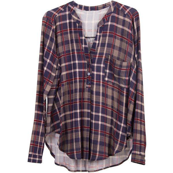Lush Clothing Long Sleeve Plaid Blouse ($37) ❤ liked on Polyvore featuring tops, blouses, shirts, long sleeves, purple shirt, long sleeve shirts, shirts & blouses, v neck shirts and tartan shirt