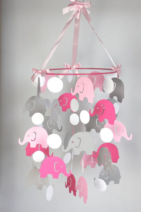 pink elephant baby mobile pink gray baby crib mobile girl nursery mobile choose colors. Black Bedroom Furniture Sets. Home Design Ideas