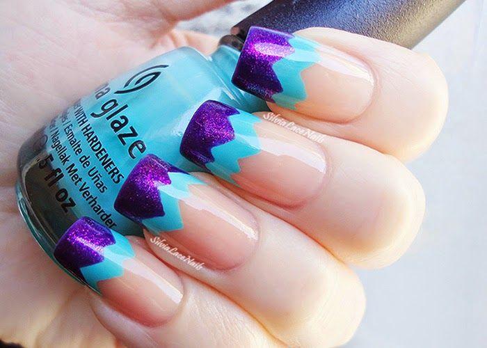 Silvia Lace Nails:Aqua purple chevron french tips #nail #nails #nailart
