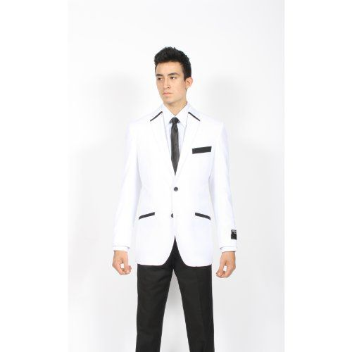 Two Button Black White Accents Fashion Mens Dinner Jacket buy in low price at www.eshopsway.com