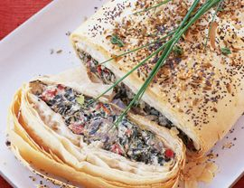 Mushroom, Cheese, and Vegetable Strudel Recipe   Vegetarian Times -- This looks like a good holiday dish