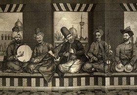 Osmanlı Halep'inde Müslüman ve Hıristiyanlardan müteşekkil bir müzik grubu, 1794. Sırasıyla tef, tambur, ney, kemençe ve nekkâre çalan müzisyenler görülmektedir.  Kaynak: http://www.nedir.com/t%C3%BCrk-sanat-m%C3%BCzi%C4%9Fi#ixzz4X4vY4q56