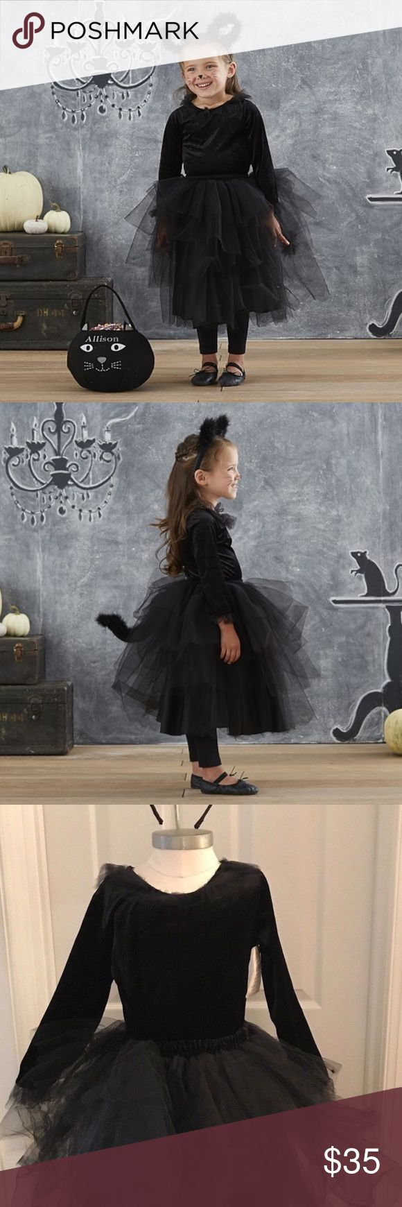 """Pottery Barn Kids Black Cat Tutu Costume Size 4-6 3 Piece Pottery Barn Kids Black Tutu Costume Kids Size 4-6.  Set includes Black Lined Layered Tulle Skirt, """"Velvet"""" Tulle trimmed longs sleeve top, and Fuzzy feather cat years with pink interior.  Worn once.  Excellent condition. Pottery Barn Kids Costumes Halloween"""