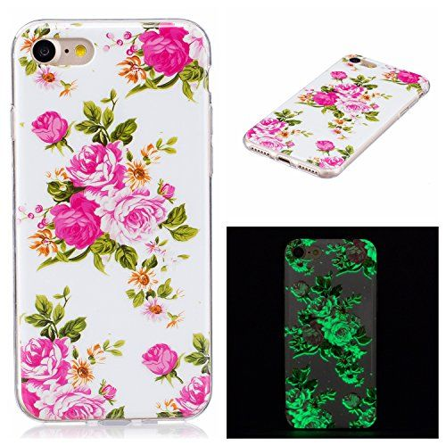 Sunvy iPhone 7Plus Case Luminous Retro Rose iPhone 7 Plus Case Scratch Resistant Ultra Light TPU Silicone Protective Cover for 55 inch iPhone 7Plus with a Screen Protector *** Learn more by visiting the image link.