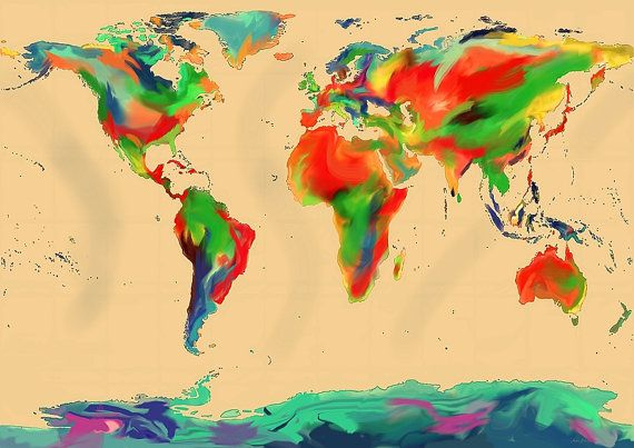 World of Color Map  A digital art image for download by apillaza   #WallArt #Etsy  #prints  #EtsyArt  #diyprints  #worldmaps  #artmaps #decor