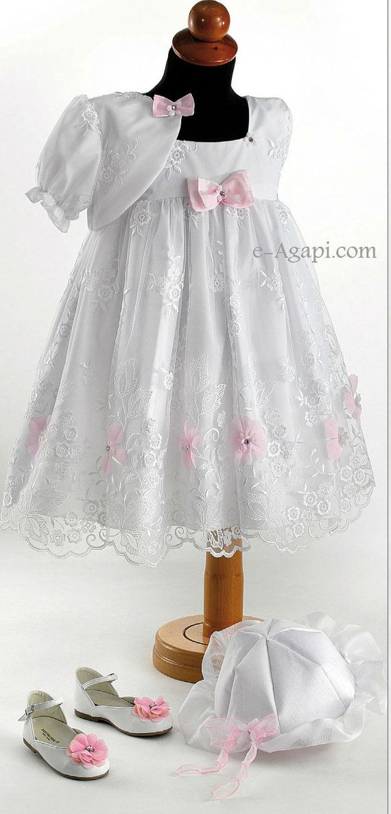 4 pcs Baptism Christening Baby girl set  Pink / White by eAGAPIcom, €124.98
